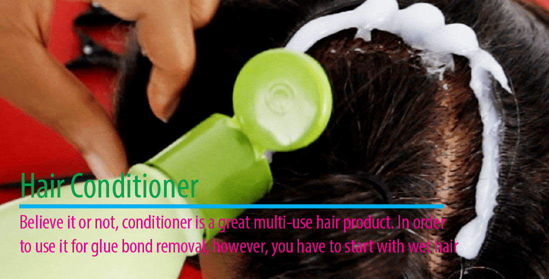 remove hair glue with conditioner
